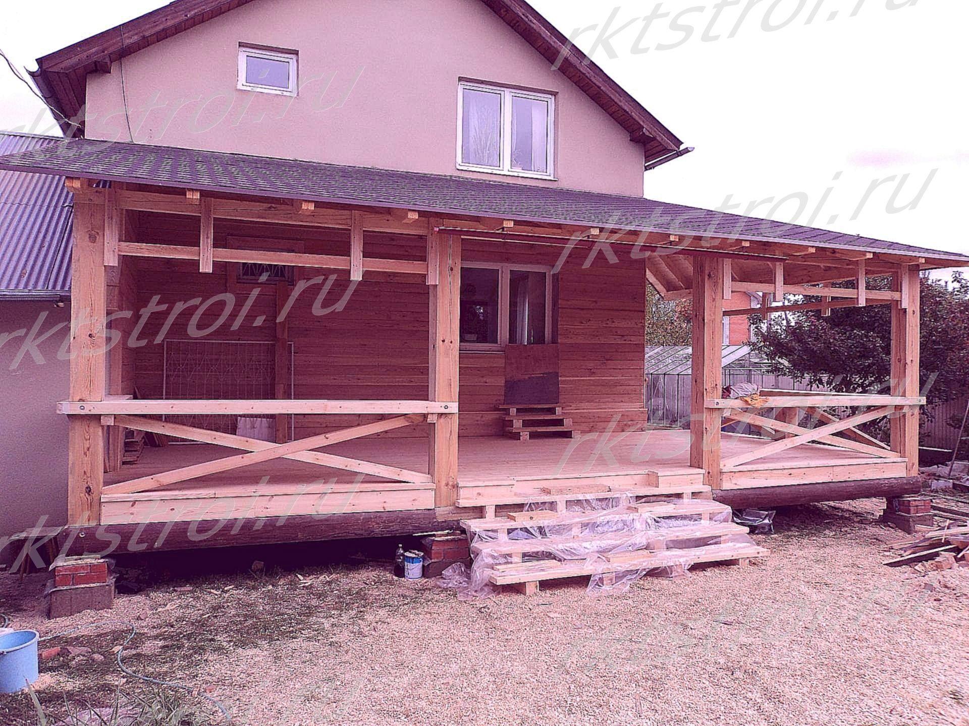 Пристройка деревянной веранды к дому своими руками фото