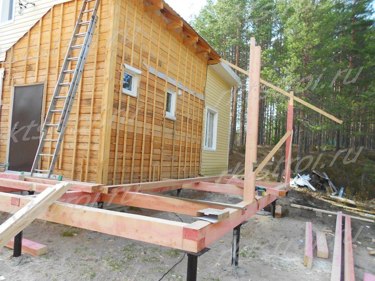 Строительство пристройки к деревянному дому своими руками фото